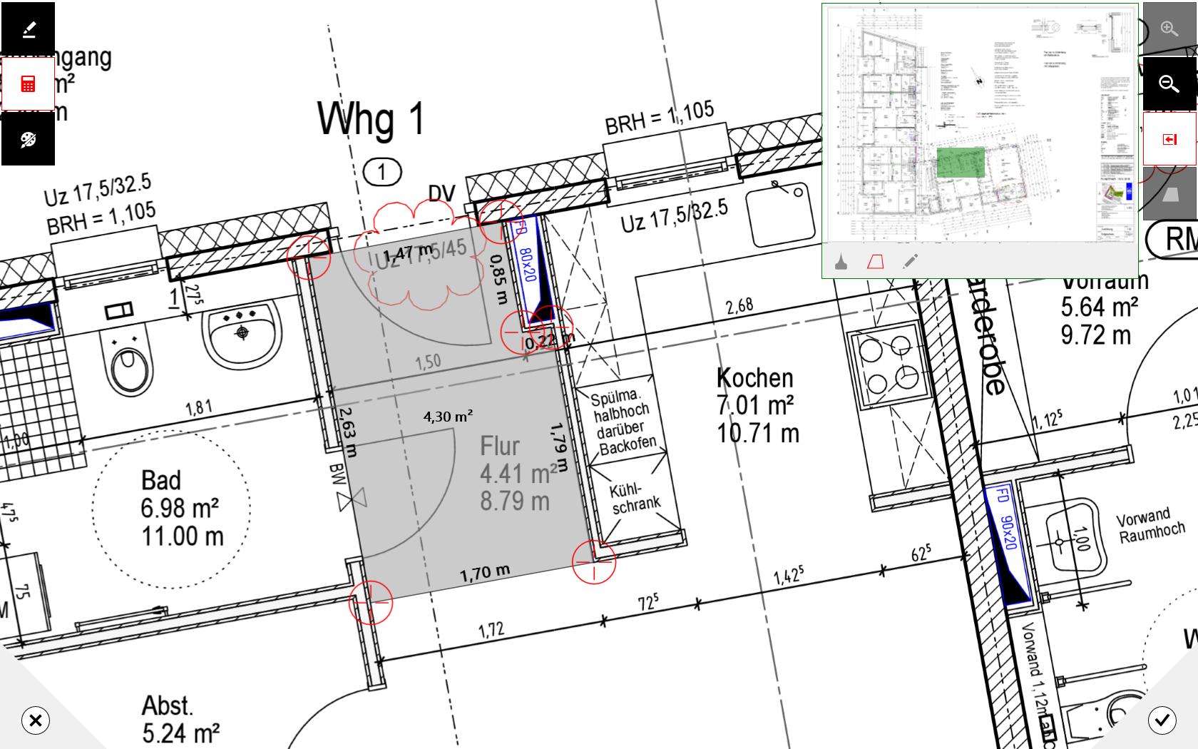 mobiPlan App Screen Flächenerfassung im Bauplan