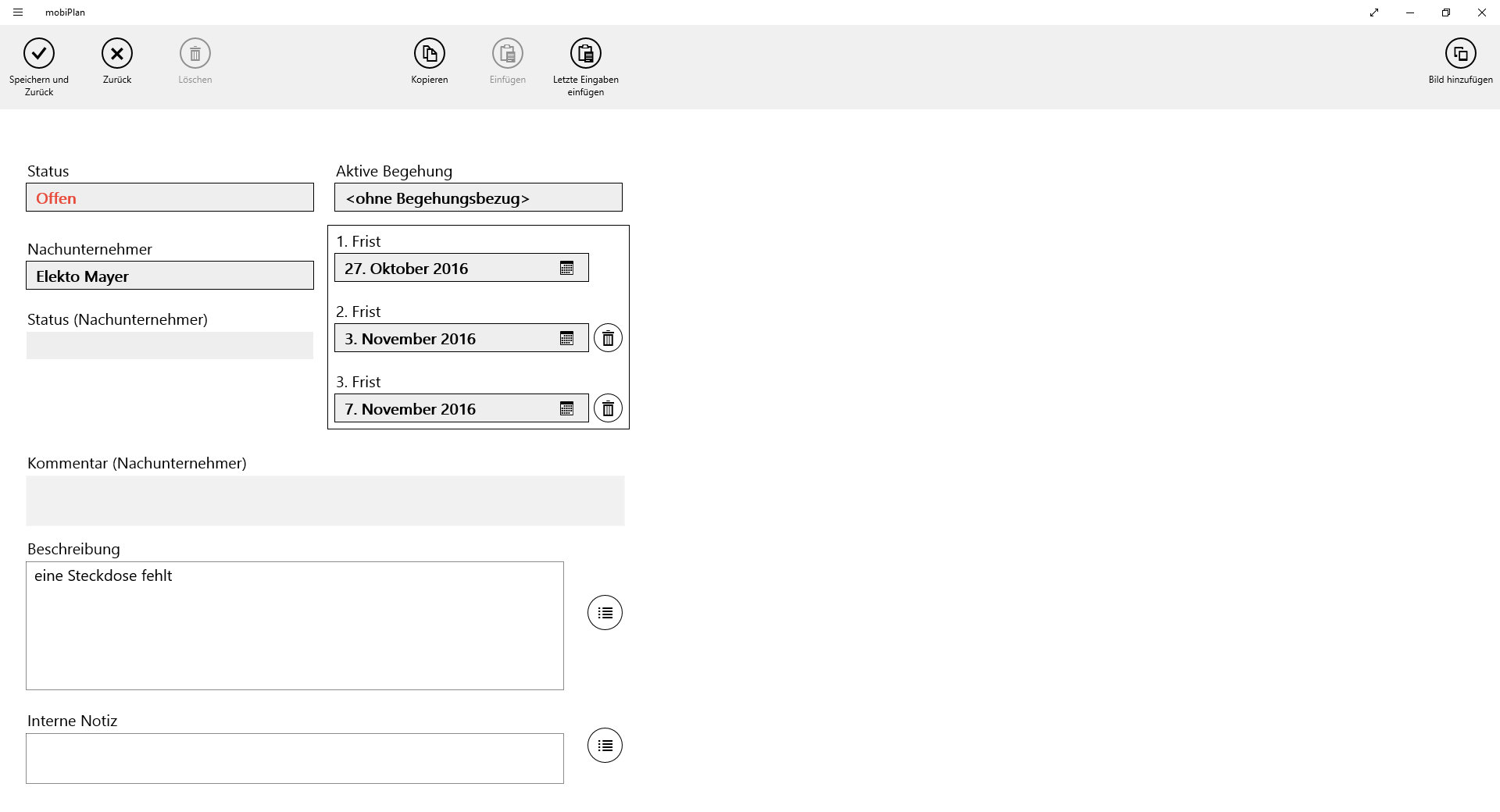 mobiPlan App Screen Formular um einen Mangel einzutragen.