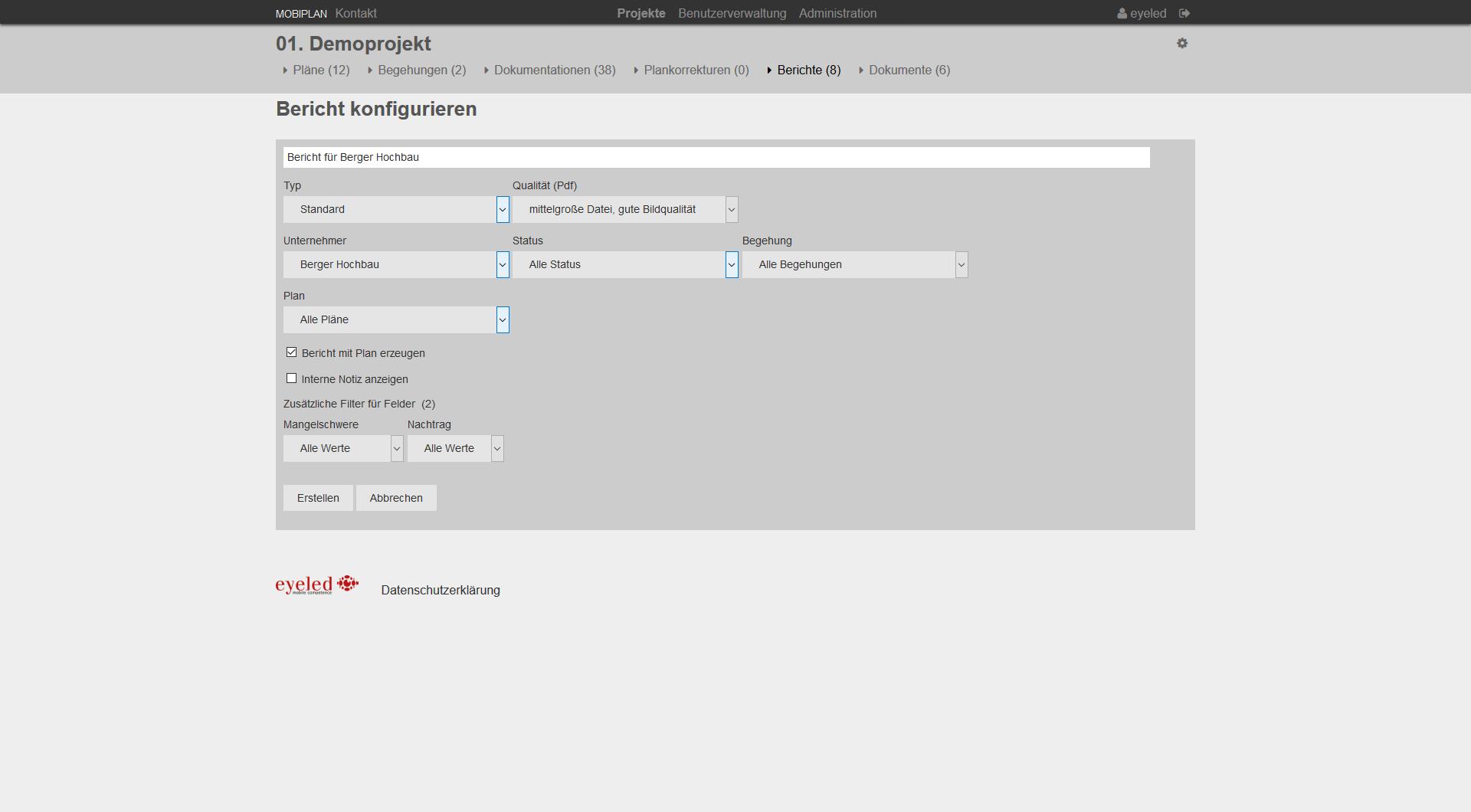 mobiPlan Webportal Screen von Berichtskonfigurationen