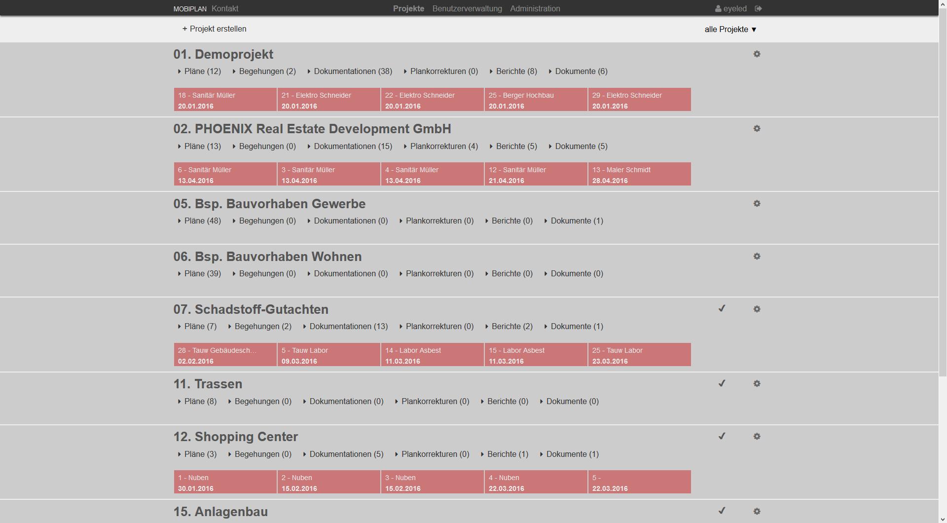 mobiPlan Webportal Screen von Projekten