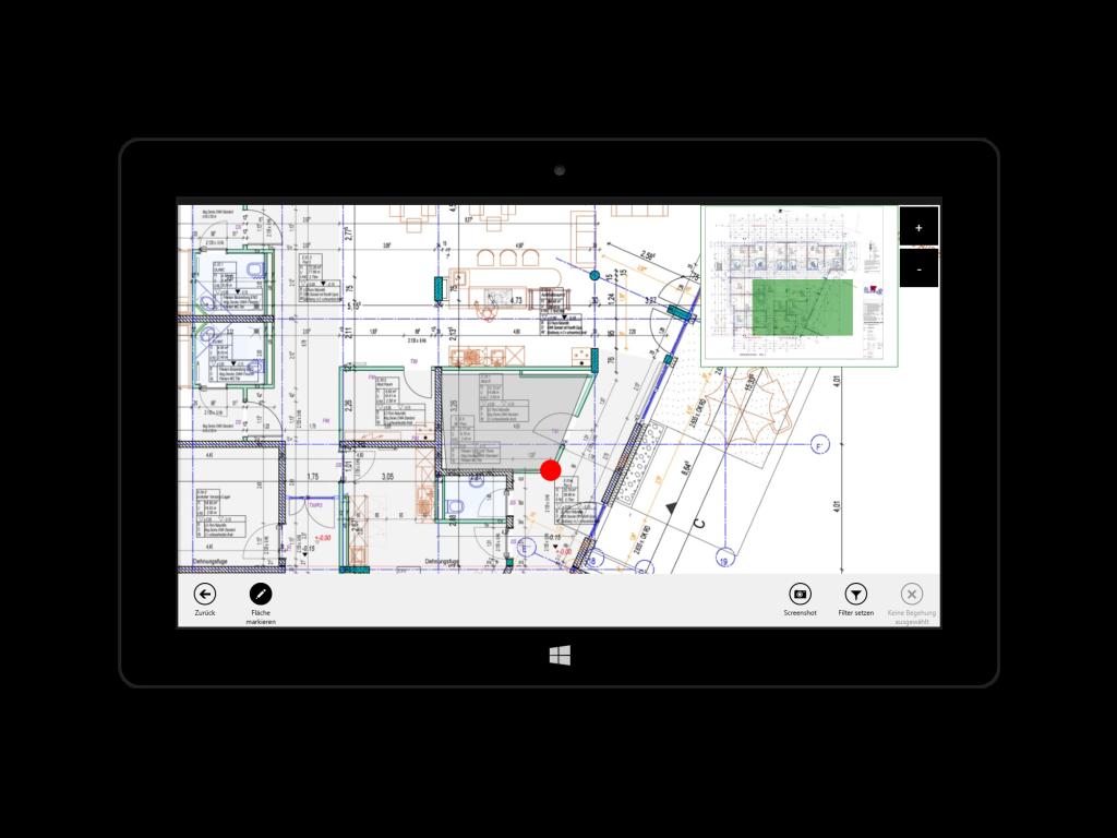 Eyeled GmbH mobiPlan App Screenshot der Pläne auf der Benutzeroberfläche.