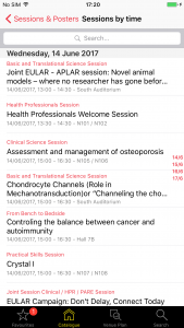 Screenshot: EULAR Session list