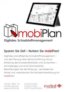 Digitales Schadstoffmanagement mit mobiPlan von der Eyeled GmbH.