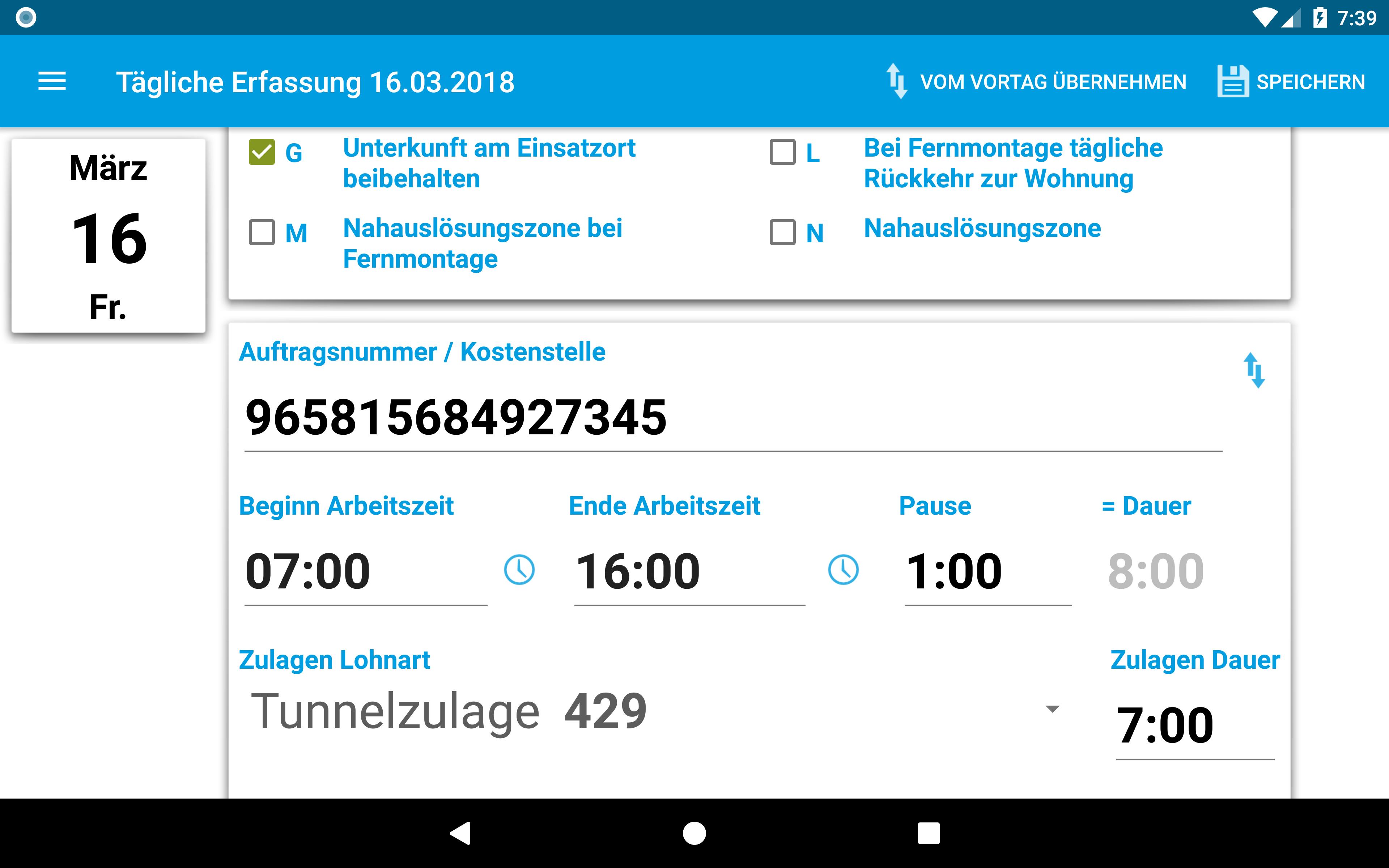 Tägliche Zeiterfassung auf Montage per App