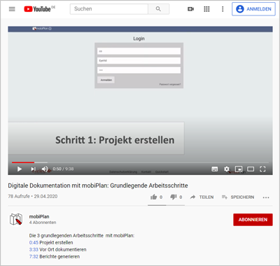 mobiPlan YouTube-Channel: Videos zur digitalen Dokumentationslösung