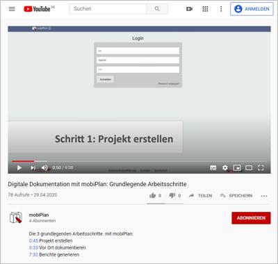 mobiPlan YouTube-Channel: Videos zur digitalen Dokumentationslösung