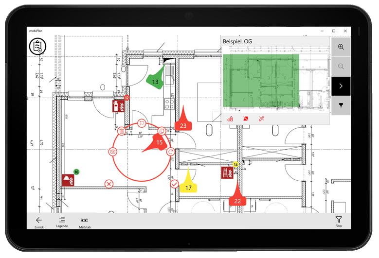 mobiPlan-App: Planansicht mit Brandschutz Piktogrammen