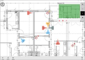 mobiPlan-App: Planansicht mit Status und Piktogrammen